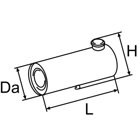 Топливный бачок 35 литров ; Da = 265; L = 600; H = 344